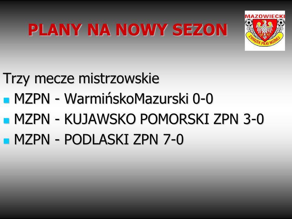 PLANY NA NOWY SEZON Trzy mecze mistrzowskie MZPN - WarmińskoMazurski 0-0 MZPN - WarmińskoMazurski 0-0 MZPN - KUJAWSKO POMORSKI ZPN 3-0 MZPN - KUJAWSKO