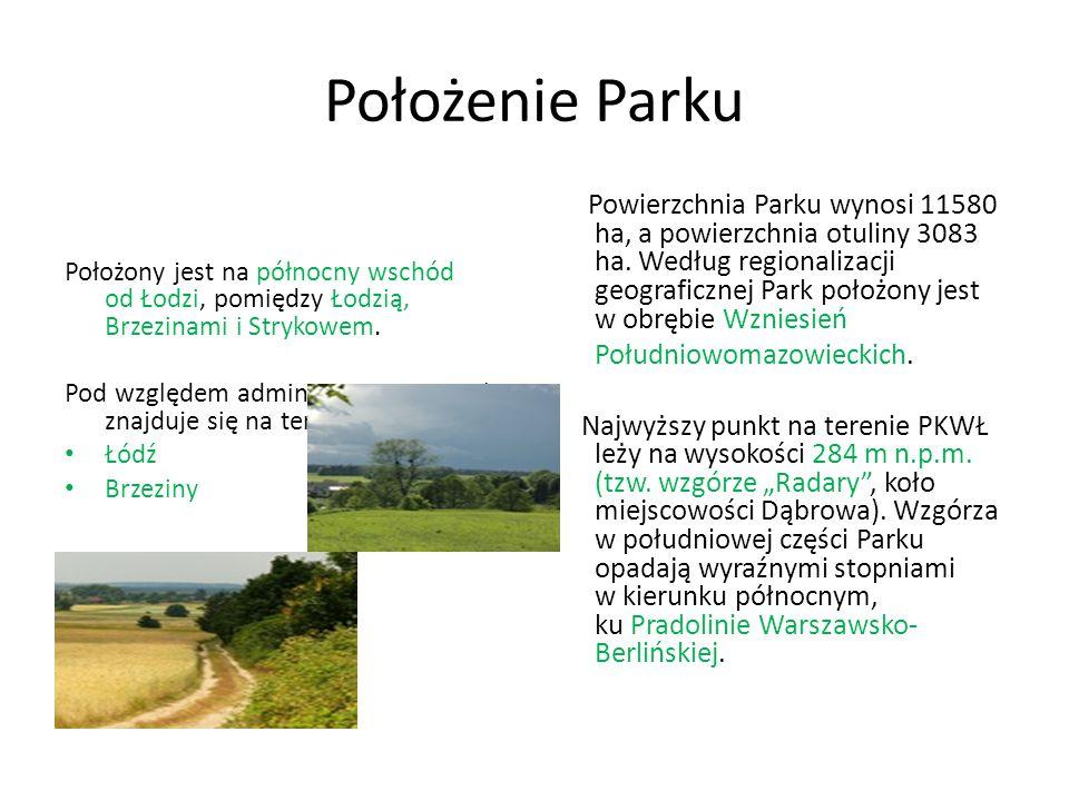 Położenie Parku Położony jest na północny wschód od Łodzi, pomiędzy Łodzią, Brzezinami i Strykowem. Pod względem administracyjnym Park znajduje się na