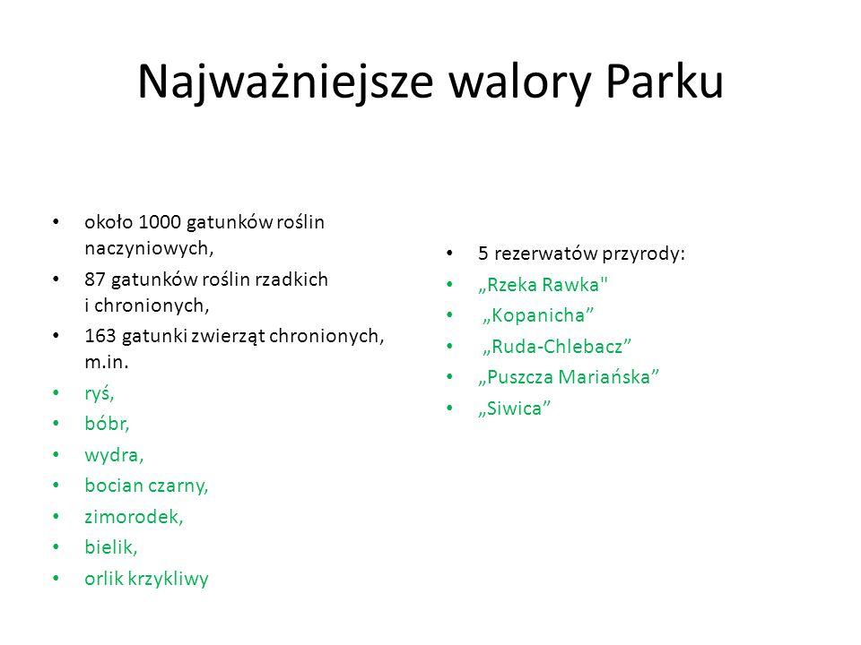 Najważniejsze walory Parku około 1000 gatunków roślin naczyniowych, 87 gatunków roślin rzadkich i chronionych, 163 gatunki zwierząt chronionych, m.in.