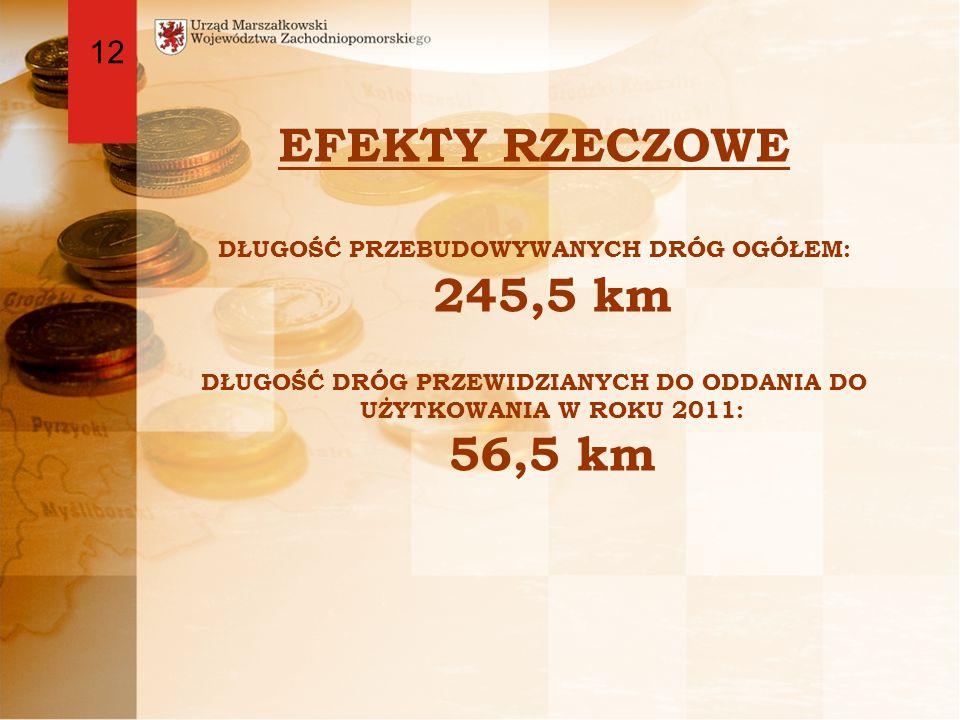 EFEKTY RZECZOWE DŁUGOŚĆ PRZEBUDOWYWANYCH DRÓG OGÓŁEM: 245,5 km DŁUGOŚĆ DRÓG PRZEWIDZIANYCH DO ODDANIA DO UŻYTKOWANIA W ROKU 2011: 56,5 km 12