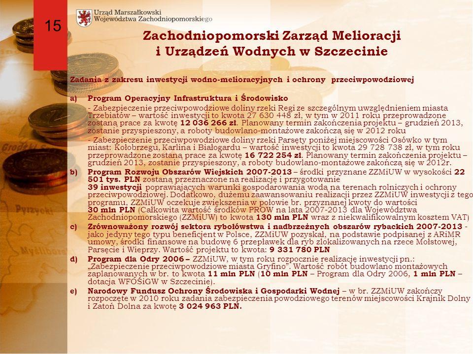Zachodniopomorski Zarząd Melioracji i Urządzeń Wodnych w Szczecinie Zadania z zakresu inwestycji wodno-melioracyjnych i ochrony przeciwpowodziowej a)Program Operacyjny Infrastruktura i Środowisko - Zabezpieczenie przeciwpowodziowe doliny rzeki Regi ze szczególnym uwzględnieniem miasta Trzebiatów – wartość inwestycji to kwota 27 630 448 zł, w tym w 2011 roku przeprowadzone zostaną prace za kwotę 12 036 266 zł.