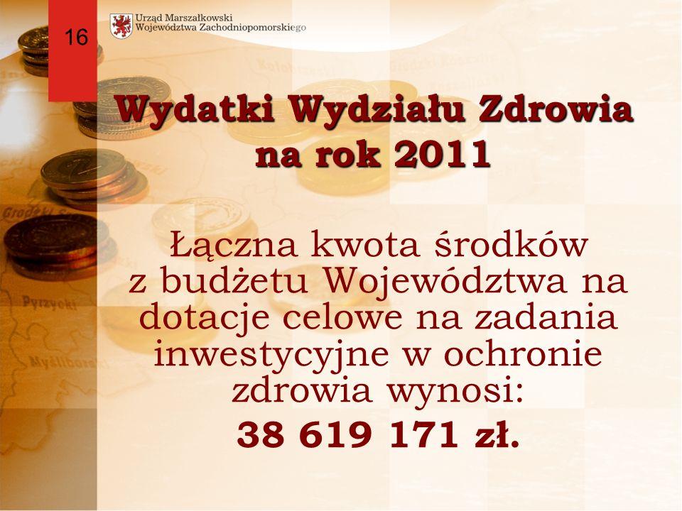 Wydatki Wydziału Zdrowia na rok 2011 Łączna kwota środków z budżetu Województwa na dotacje celowe na zadania inwestycyjne w ochronie zdrowia wynosi: 38 619 171 zł.