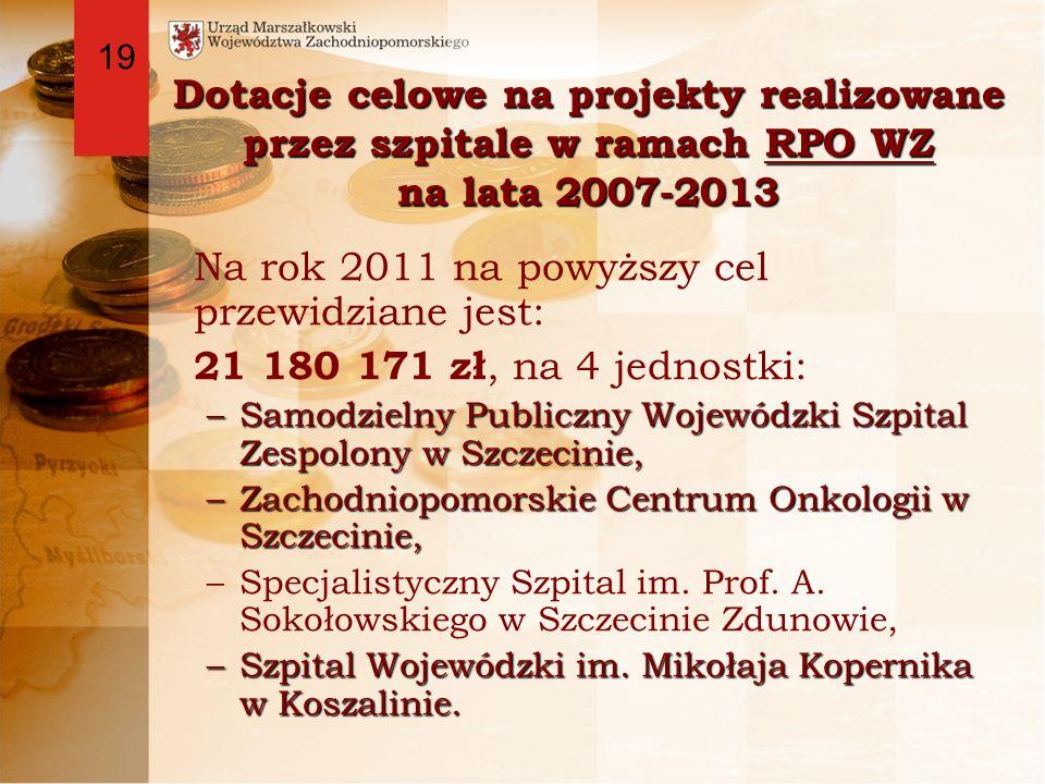Dotacje celowe na projekty realizowane przez szpitale w ramach RPO WZ na lata 2007-2013 Na rok 2011 na powyższy cel przewidziane jest: 21 180 171 zł, na 4 jednostki: –Samodzielny Publiczny Wojewódzki Szpital Zespolony w Szczecinie, –Zachodniopomorskie Centrum Onkologii w Szczecinie, –Specjalistyczny Szpital im.