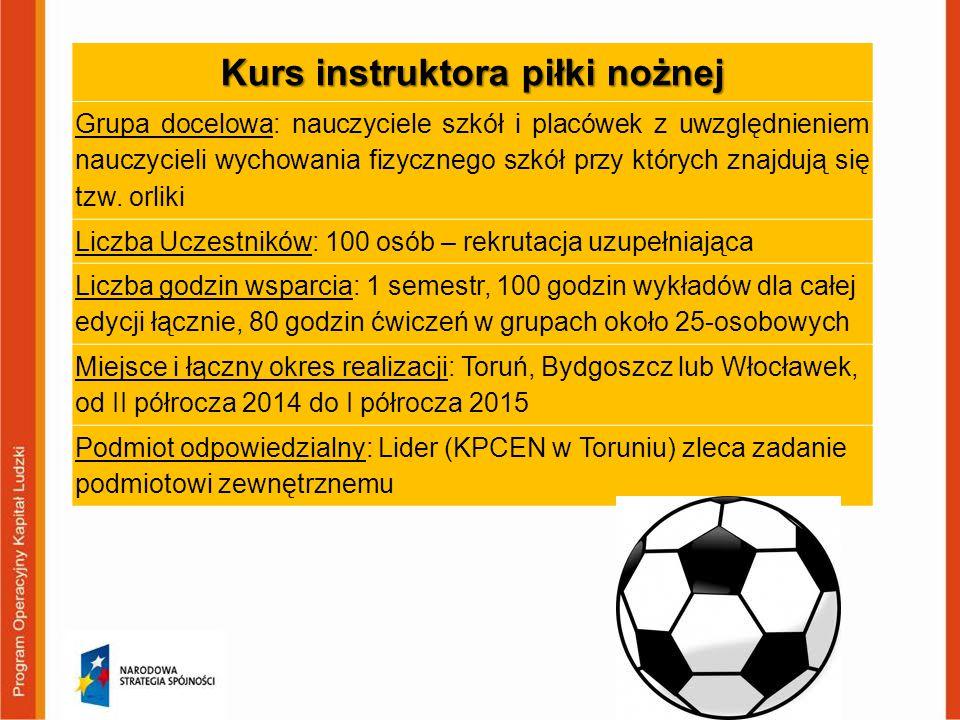 Kurs instruktora piłki nożnej Grupa docelowa: nauczyciele szkół i placówek z uwzględnieniem nauczycieli wychowania fizycznego szkół przy których znajd