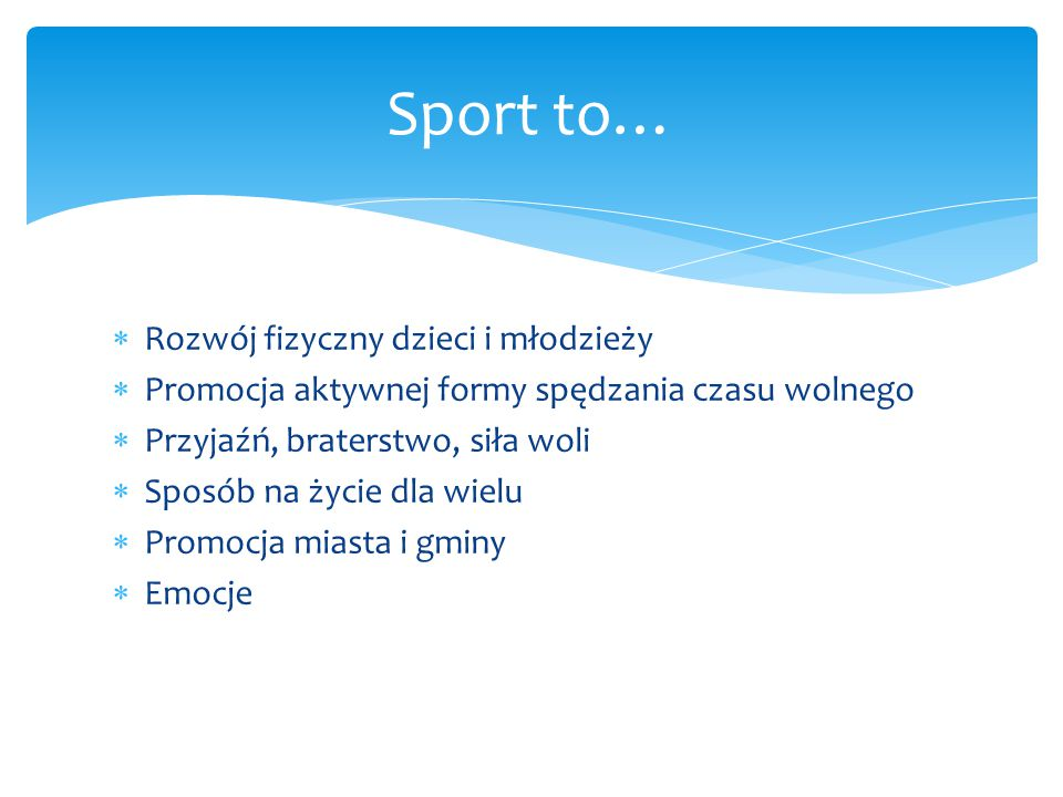  W roku szkolnym 2013/2014 młodzież naszej gminy startowała łącznie w 20 gminnych zawodach sportowych, z czego 8 było skierowanych dla uczniów gimnazjum, a 12 dla uczniów szkół podstawowych.