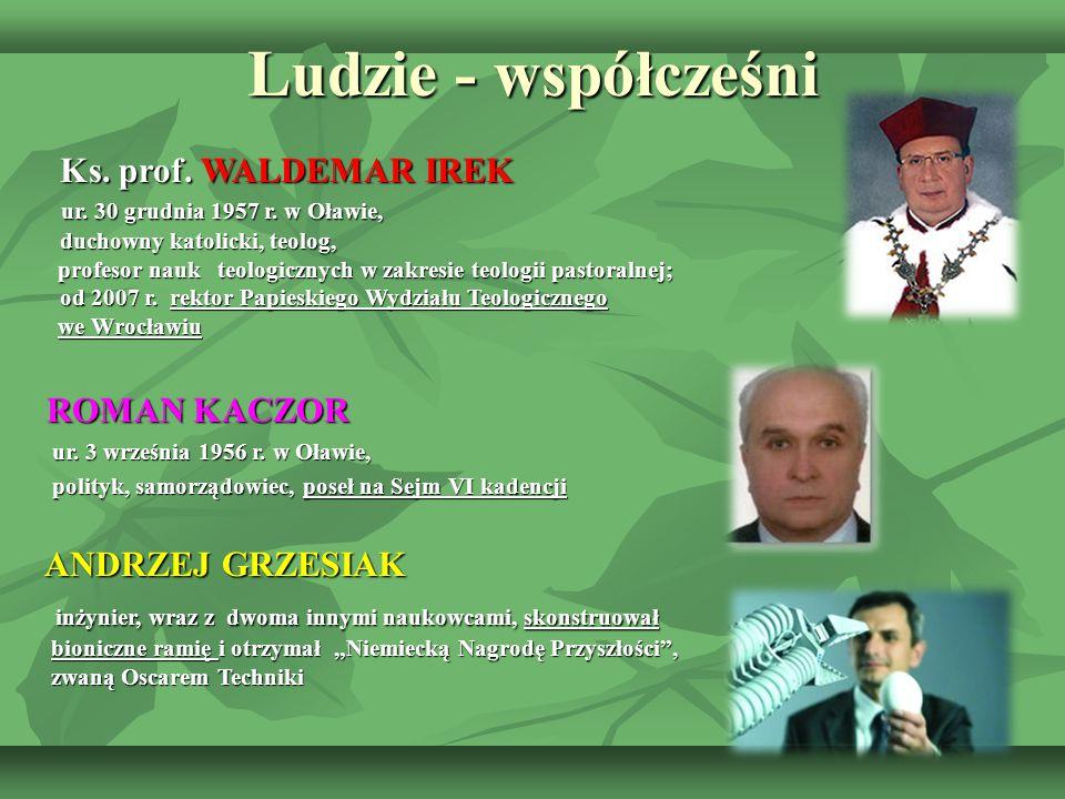 Ludzie - współcześni Ks. prof. WALDEMAR IREK Ks. prof. WALDEMAR IREK ur. 30 grudnia 1957 r. w Oławie, ur. 30 grudnia 1957 r. w Oławie, duchowny katoli