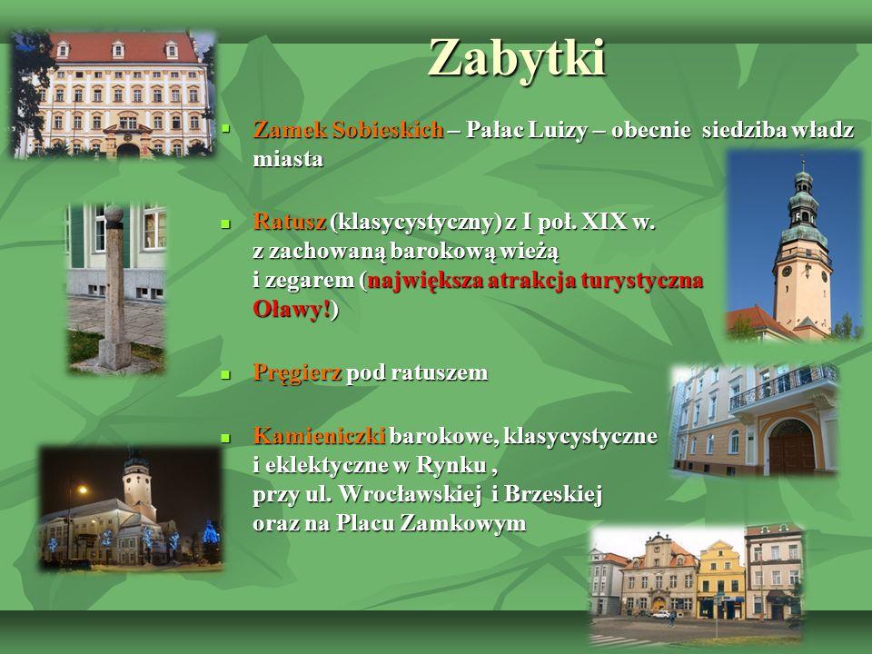 Zabytki Zabytki  Zamek Sobieskich – Pałac Luizy – obecnie siedziba władz miasta Ratusz (klasycystyczny) z I poł. XIX w. z zachowaną barokową wieżą i