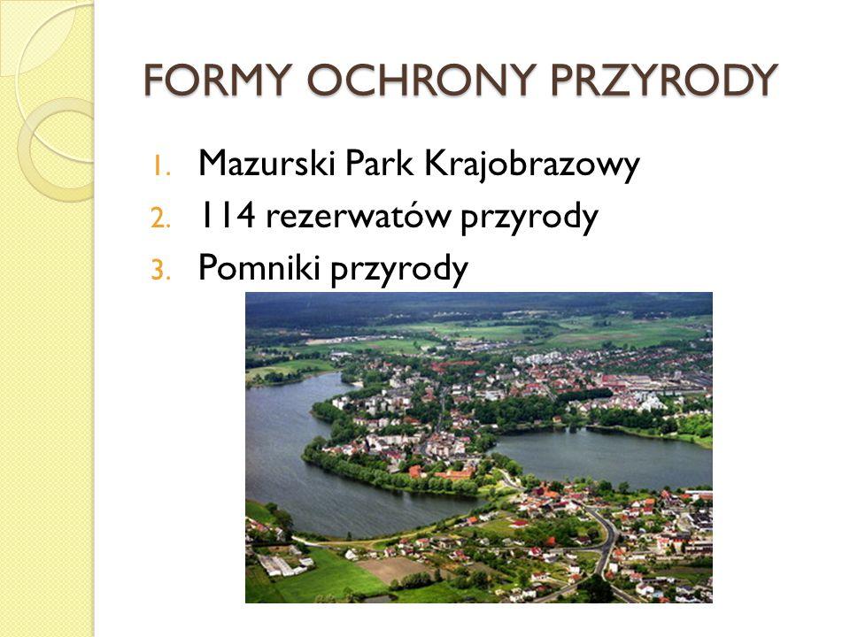 FORMY OCHRONY PRZYRODY 1. Mazurski Park Krajobrazowy 2. 114 rezerwatów przyrody 3. Pomniki przyrody