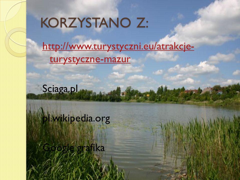 KORZYSTANO Z: http://www.turystyczni.eu/atrakcje- turystyczne-mazur Sciaga.pl pl.wikipedia.org Google grafika