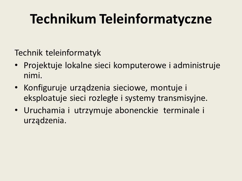 Technik teleinformatyk Projektuje lokalne sieci komputerowe i administruje nimi. Konfiguruje urządzenia sieciowe, montuje i eksploatuje sieci rozległe