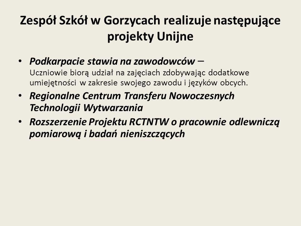 Zespół Szkół w Gorzycach realizuje następujące projekty Unijne Podkarpacie stawia na zawodowców – Uczniowie biorą udział na zajęciach zdobywając dodatkowe umiejętności w zakresie swojego zawodu i języków obcych.
