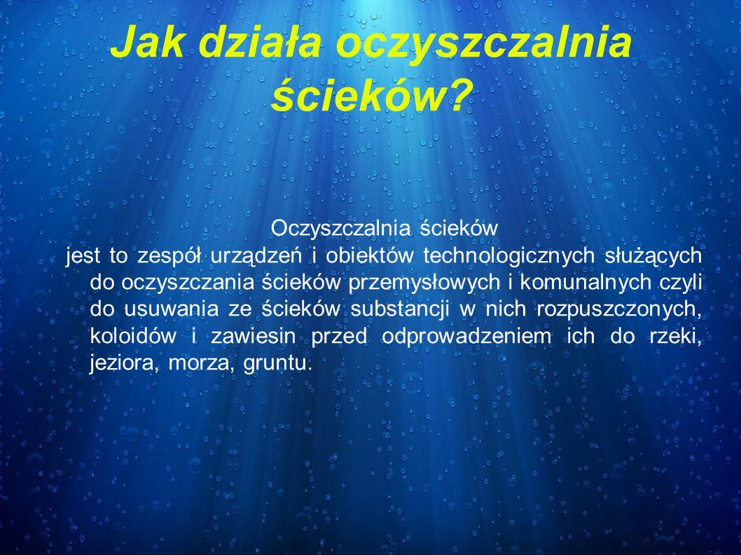 Jak działa oczyszczalnia ścieków? Oczyszczalnia ścieków jest to zespół urządzeń i obiektów technologicznych służących do oczyszczania ścieków przemysł