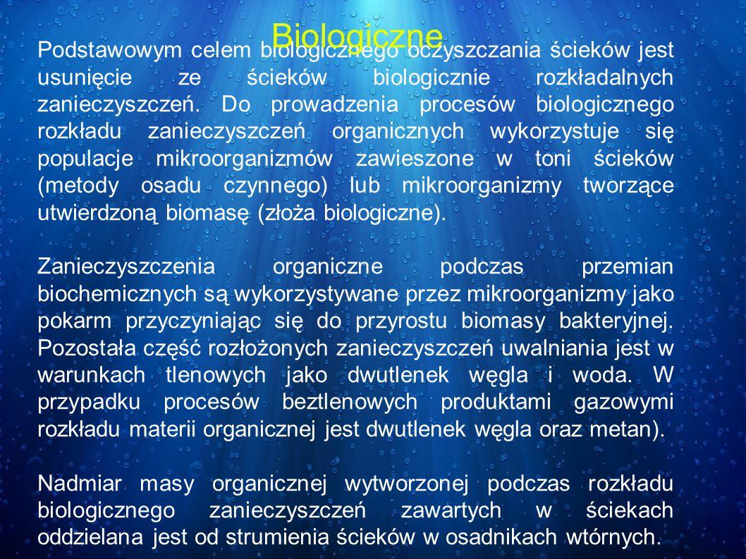 Podstawowym celem biologicznego oczyszczania ścieków jest usunięcie ze ścieków biologicznie rozkładalnych zanieczyszczeń. Do prowadzenia procesów biol