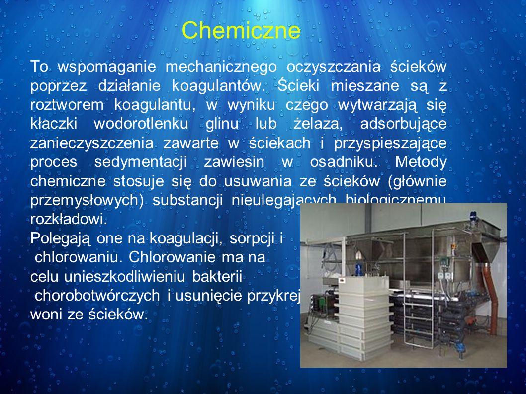 To wspomaganie mechanicznego oczyszczania ścieków poprzez działanie koagulantów. Ścieki mieszane są z roztworem koagulantu, w wyniku czego wytwarzają