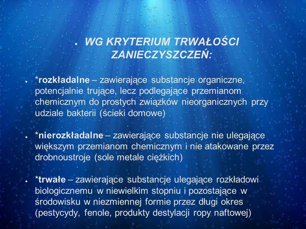 ● WG KRYTERIUM TRWAŁOŚCI ZANIECZYSZCZEŃ: ● *rozkładalne – zawierające substancje organiczne, potencjalnie trujące, lecz podlegające przemianom chemicz