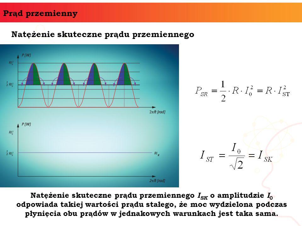 Prąd przemienny Natężenie skuteczne prądu przemiennego Natężenie skuteczne prądu przemiennego I SK o amplitudzie I 0 odpowiada takiej wartości prądu s