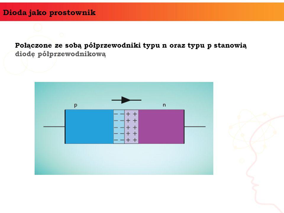 Dioda jako prostownik Połączone ze sobą półprzewodniki typu n oraz typu p stanowią diodę półprzewodnikową