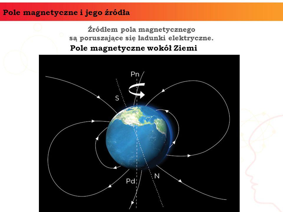 Pole magnetyczne i jego źródła Źródłem pola magnetycznego są poruszające się ładunki elektryczne. Pole magnetyczne wokół Ziemi