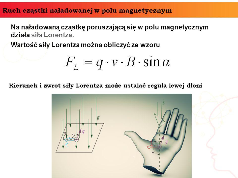 Ruch cząstki naładowanej w polu magnetycznym Na naładowaną cząstkę poruszającą się w polu magnetycznym działa siła Lorentza. Wartość siły Lorentza moż