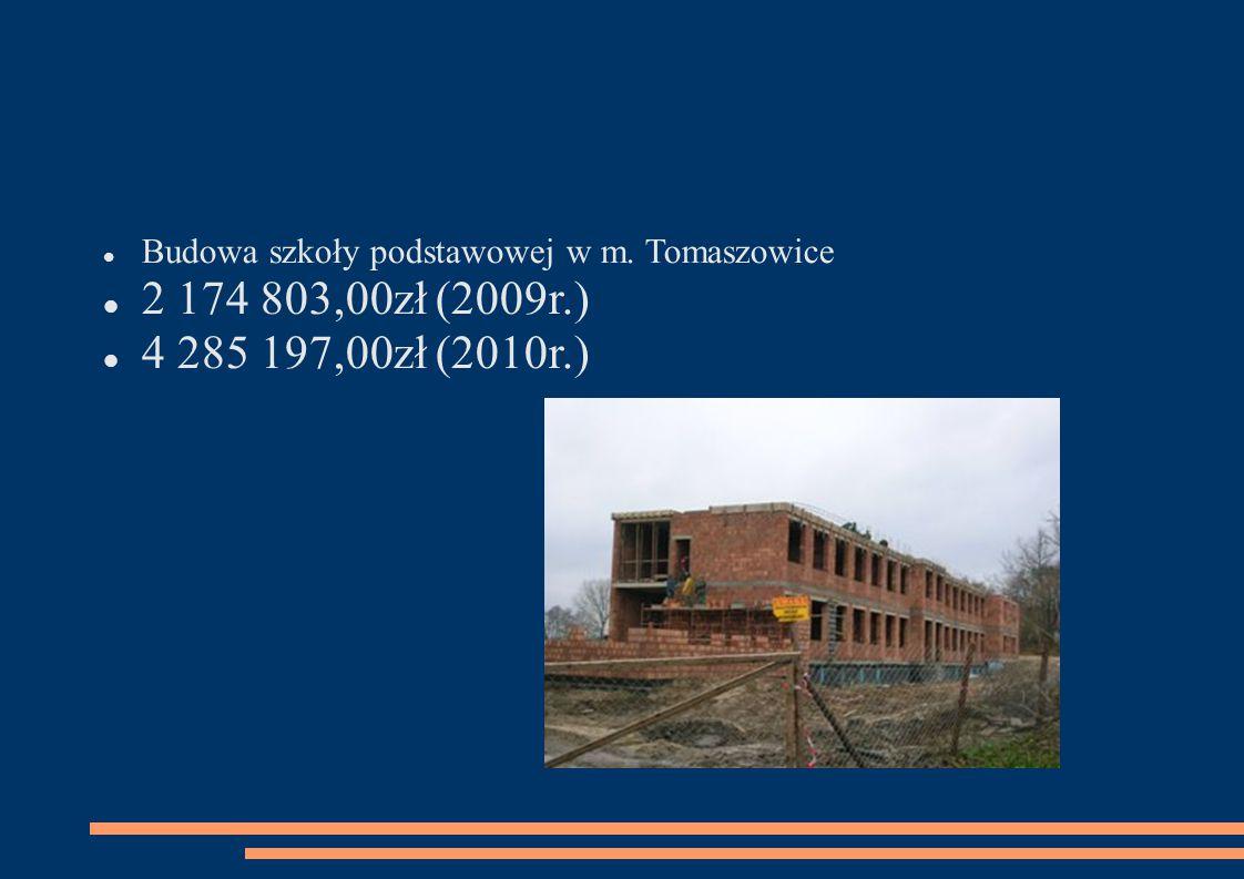 Budowa szkoły podstawowej w m. Tomaszowice 2 174 803,00zł (2009r.) 4 285 197,00zł (2010r.)