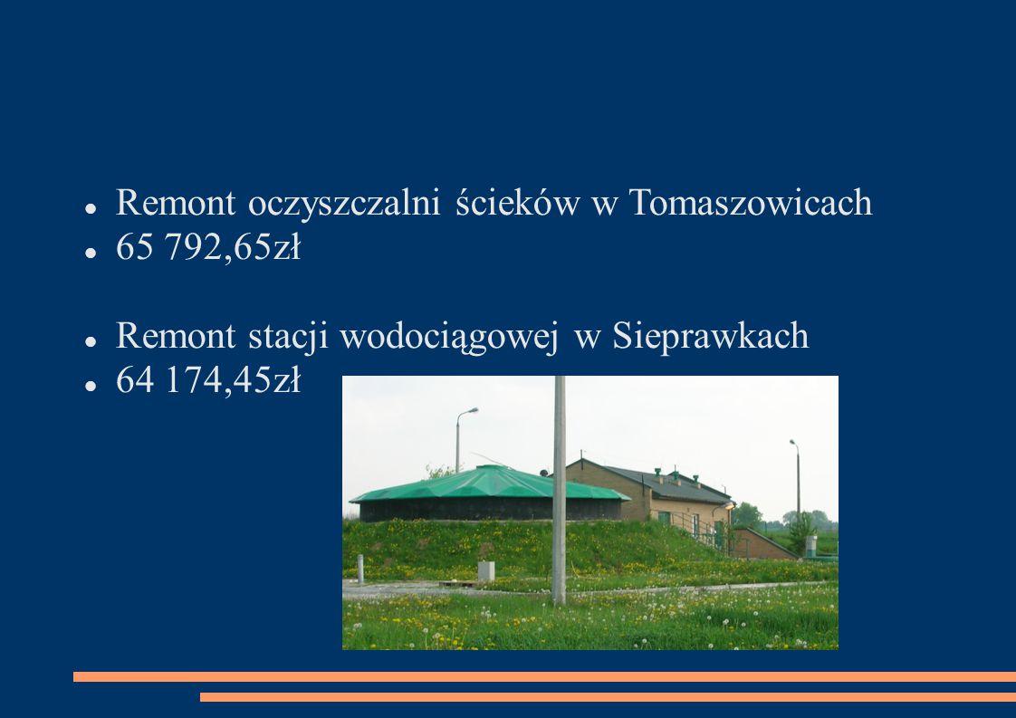 Remont oczyszczalni ścieków w Tomaszowicach 65 792,65zł Remont stacji wodociągowej w Sieprawkach 64 174,45zł