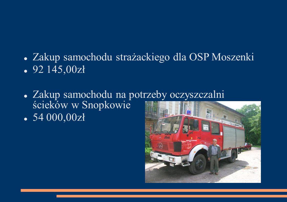 Zakup samochodu strażackiego dla OSP Moszenki 92 145,00zł Zakup samochodu na potrzeby oczyszczalni ścieków w Snopkowie 54 000,00zł