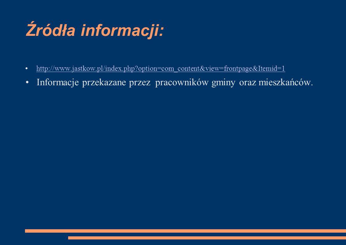 Źródła informacji: http://www.jastkow.pl/index.php?option=com_content&view=frontpage&Itemid=1 Informacje przekazane przez pracowników gminy oraz miesz