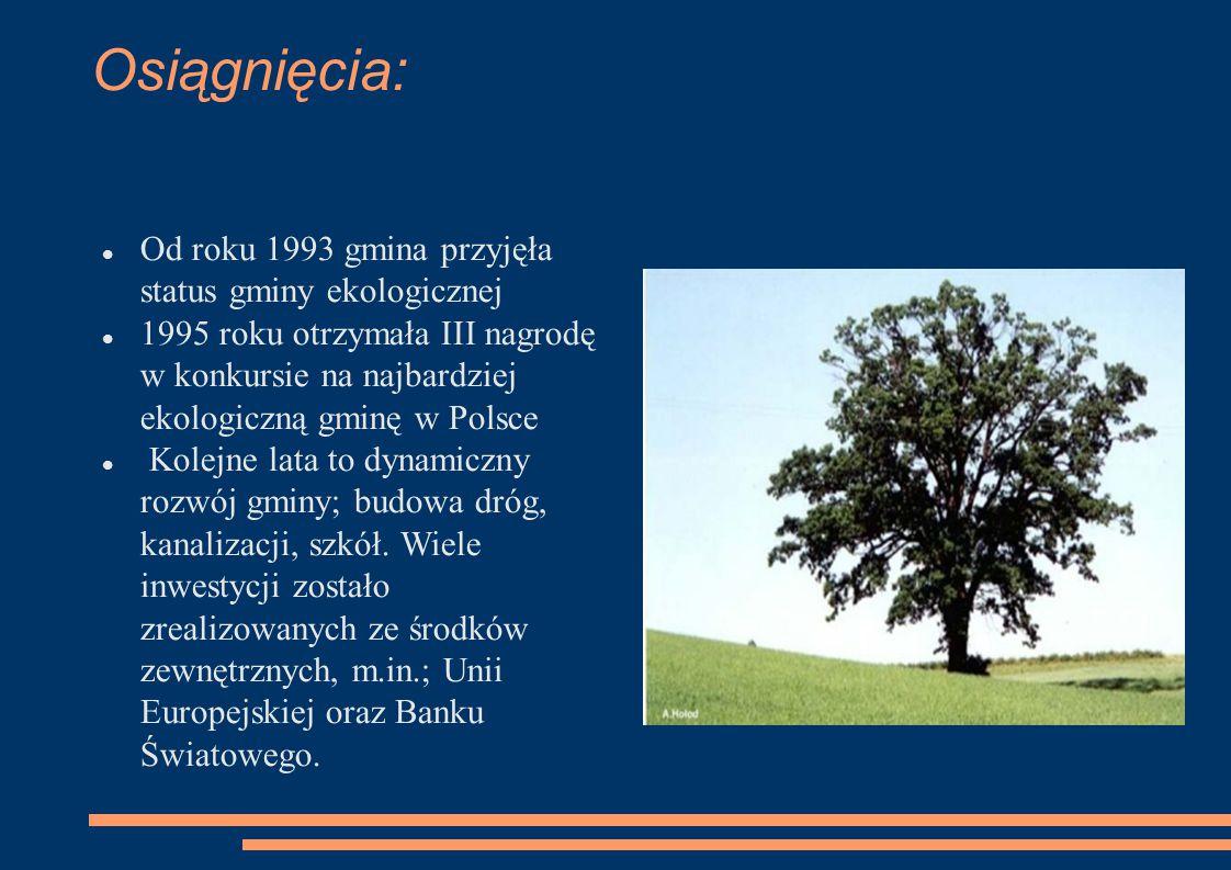 Osiągnięcia: Od roku 1993 gmina przyjęła status gminy ekologicznej 1995 roku otrzymała III nagrodę w konkursie na najbardziej ekologiczną gminę w Pols