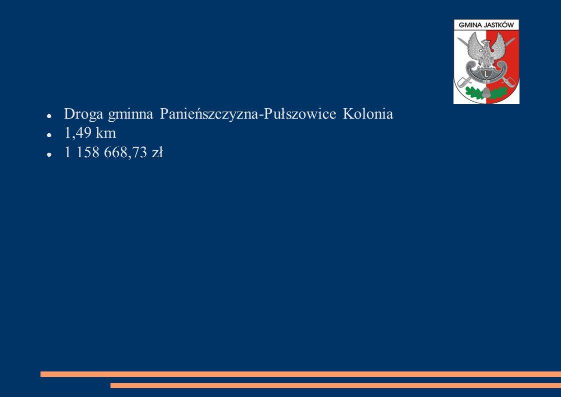 Droga gminna Panieńszczyzna-Pułszowice Kolonia 1,49 km 1 158 668,73 zł