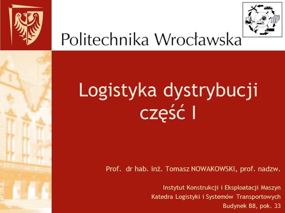 Logistyka dystrybucji część I Prof.dr hab. inż. Tomasz NOWAKOWSKI, prof.