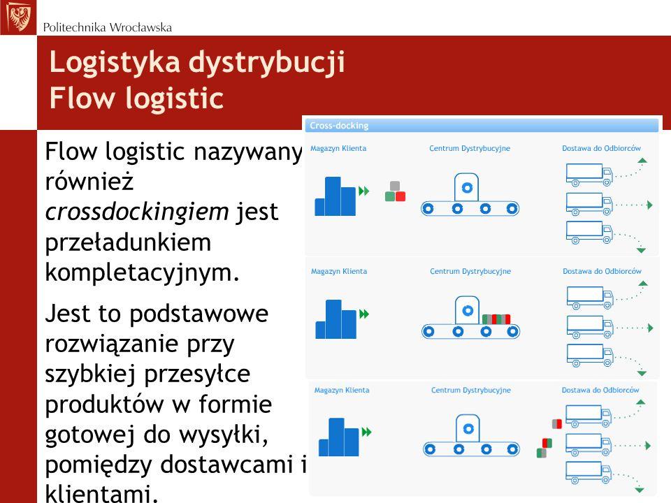 Logistyka dystrybucji Flow logistic Flow logistic nazywany również crossdockingiem jest przeładunkiem kompletacyjnym.