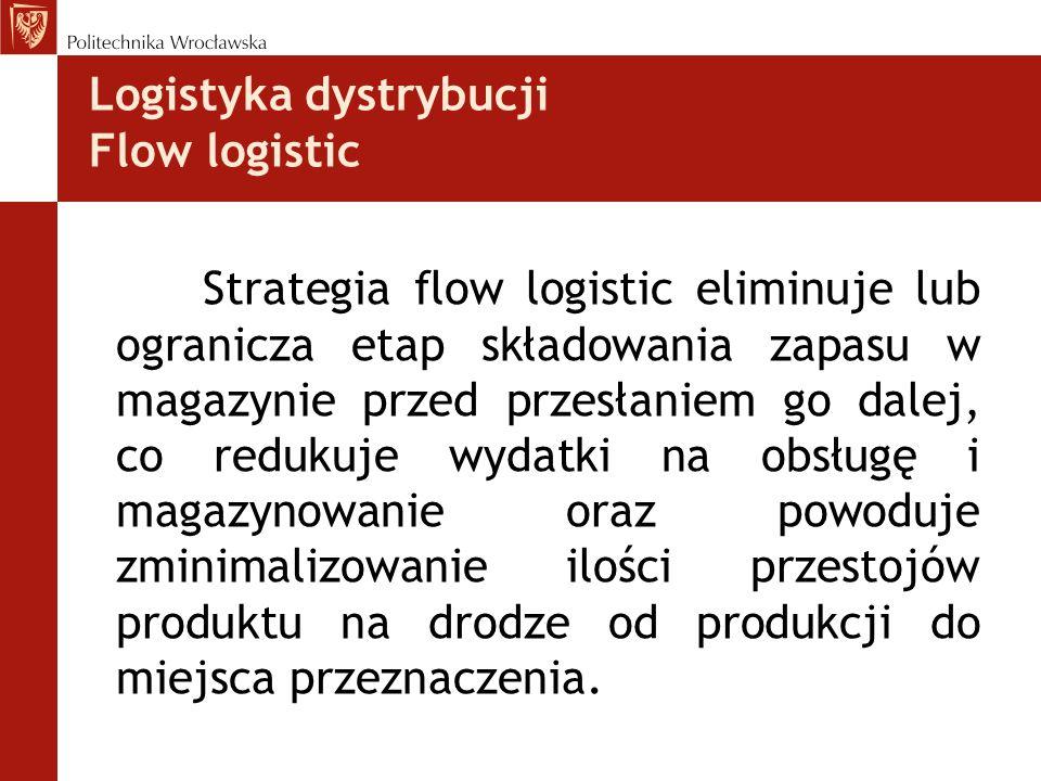 Logistyka dystrybucji Flow logistic Strategia flow logistic eliminuje lub ogranicza etap składowania zapasu w magazynie przed przesłaniem go dalej, co redukuje wydatki na obsługę i magazynowanie oraz powoduje zminimalizowanie ilości przestojów produktu na drodze od produkcji do miejsca przeznaczenia.