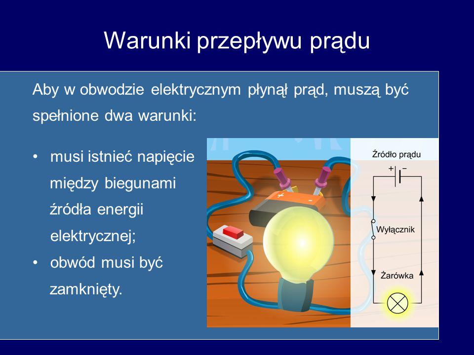 Warunki przepływu prądu Aby w obwodzie elektrycznym płynął prąd, muszą być spełnione dwa warunki: musi istnieć napięcie między biegunami źródła energi
