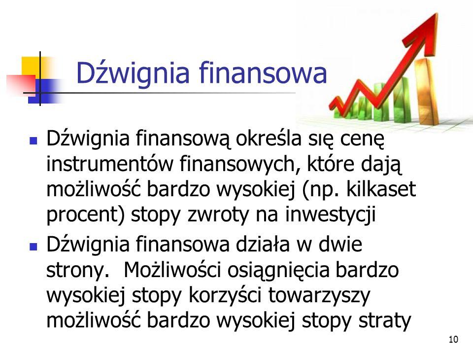 10 Dźwignia finansową określa się cenę instrumentów finansowych, które dają możliwość bardzo wysokiej (np. kilkaset procent) stopy zwroty na inwestycj