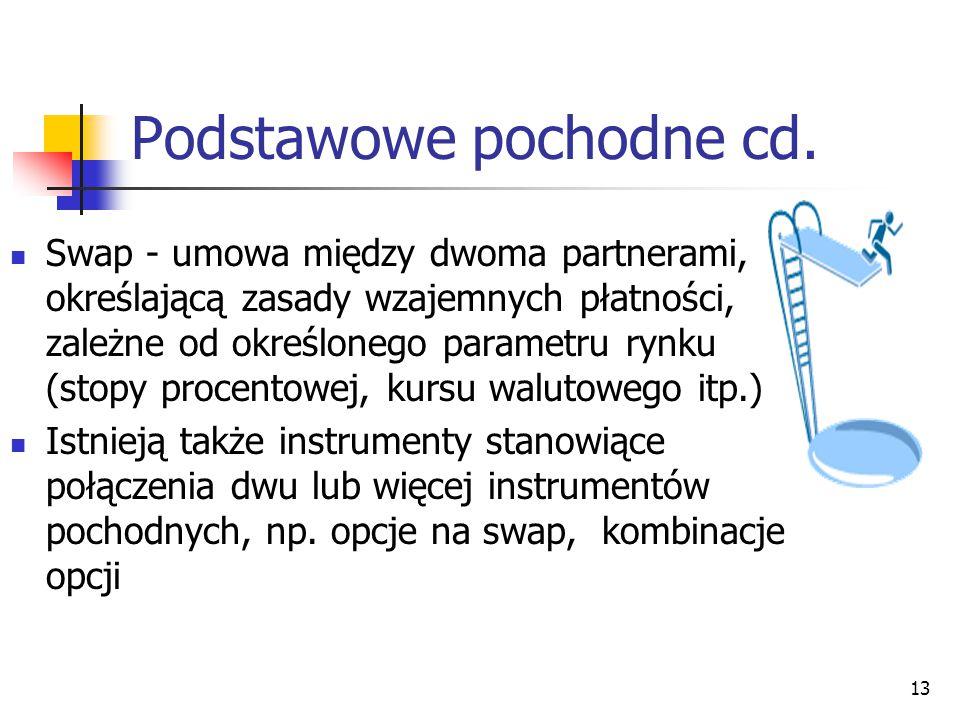 13 Podstawowe pochodne cd. Swap - umowa między dwoma partnerami, określającą zasady wzajemnych płatności, zależne od określonego parametru rynku (stop