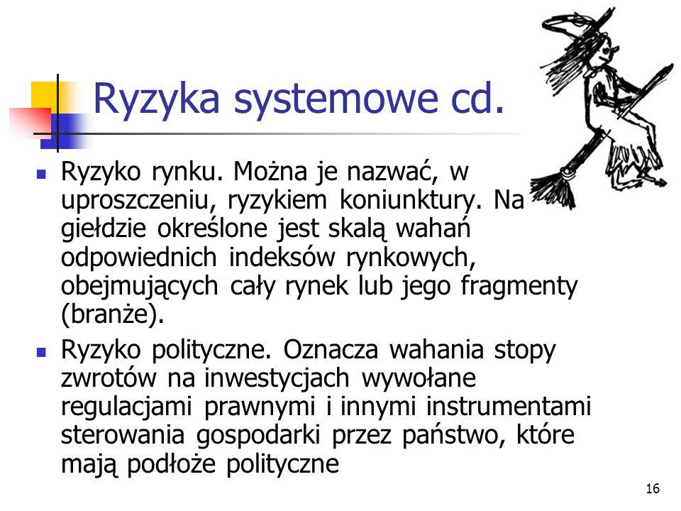 16 Ryzyka systemowe cd. Ryzyko rynku. Można je nazwać, w uproszczeniu, ryzykiem koniunktury. Na giełdzie określone jest skalą wahań odpowiednich indek
