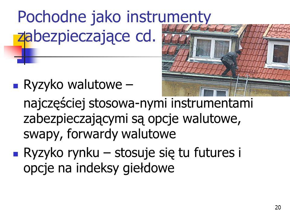 20 Pochodne jako instrumenty zabezpieczające cd. Ryzyko walutowe – najczęściej stosowa-nymi instrumentami zabezpieczającymi są opcje walutowe, swapy,