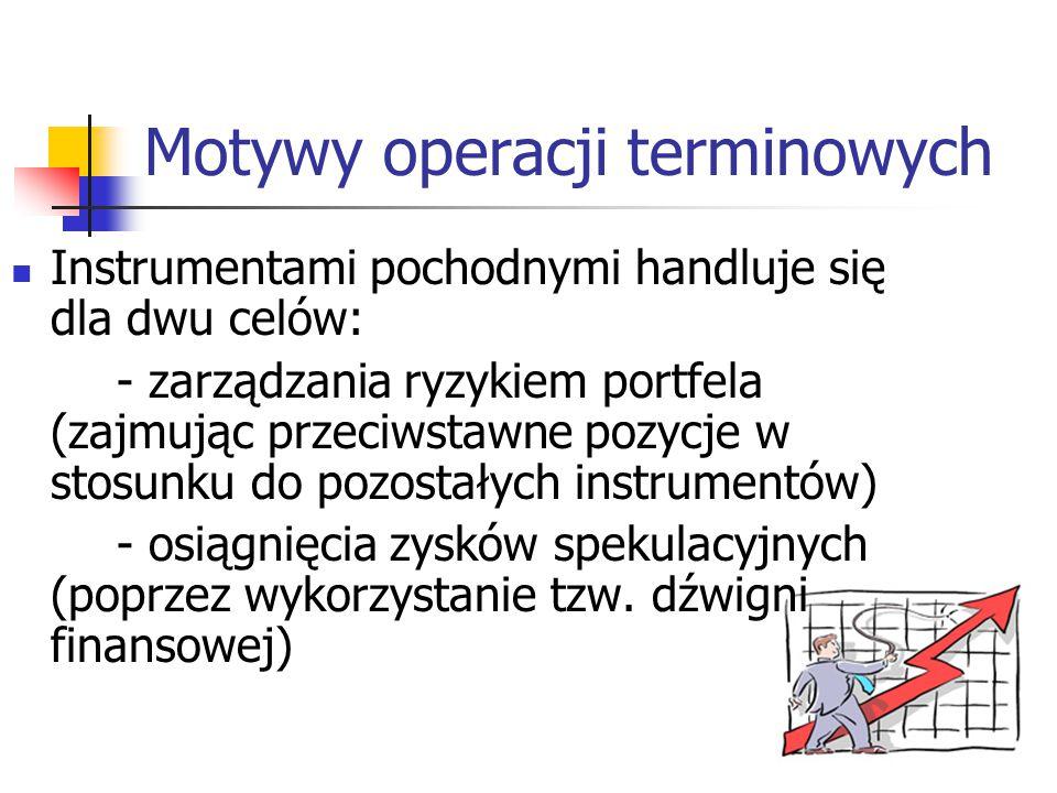 4 Motywy operacji terminowych Instrumentami pochodnymi handluje się dla dwu celów: - zarządzania ryzykiem portfela (zajmując przeciwstawne pozycje w s