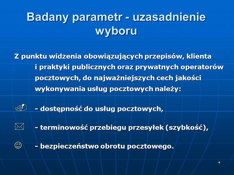 4 Badany parametr - uzasadnienie wyboru Z punktu widzenia obowiązujących przepisów, klienta i praktyki publicznych oraz prywatnych operatorów pocztowy