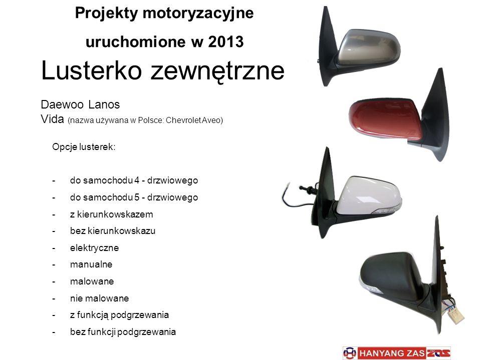 Lusterko zewnętrzne Daewoo Lanos Vida (nazwa używana w Polsce: Chevrolet Aveo) Opcje lusterek: -do samochodu 4 - drzwiowego -do samochodu 5 - drzwiowe