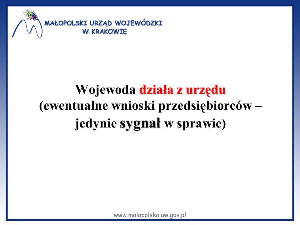 działa z urzędu sygnał Wojewoda działa z urzędu (ewentualne wnioski przedsiębiorców – jedynie sygnał w sprawie)