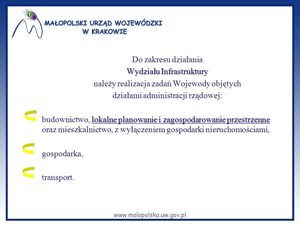 Do zakresu działania Wydziału Infrastruktury należy realizacja zadań Wojewody objętych działami administracji rządowej: lokalne planowanie i zagospoda