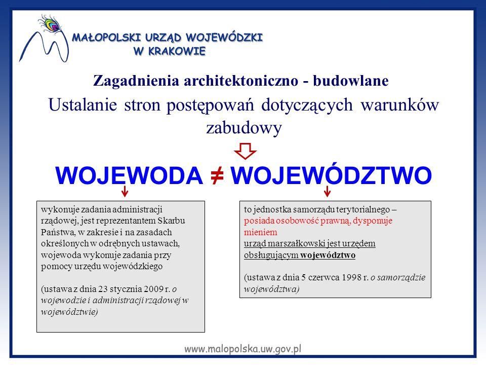 Zagadnienia architektoniczno - budowlane Ustalanie stron postępowań dotyczących warunków zabudowy WOJEWODA ≠ WOJEWÓDZTWO wykonuje zadania administracj