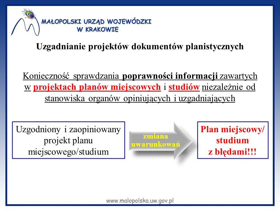 Konieczność sprawdzania poprawności informacji zawartych w projektach planów miejscowych i studiów niezależnie od stanowiska organów opiniujących i uz