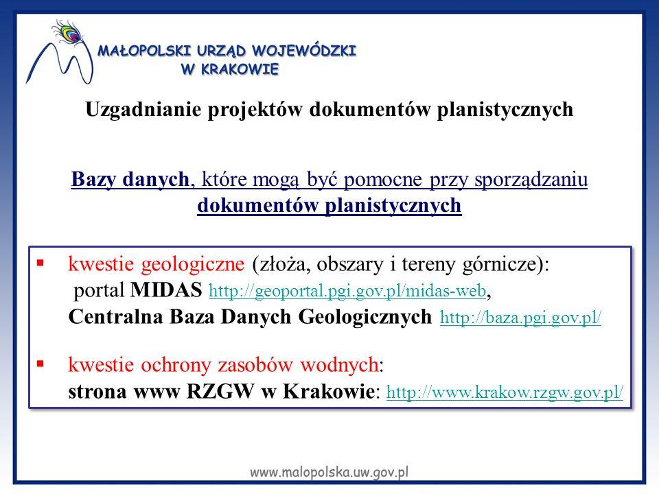 Bazy danych, które mogą być pomocne przy sporządzaniu dokumentów planistycznych  kwestie geologiczne (złoża, obszary i tereny górnicze): portal MIDAS