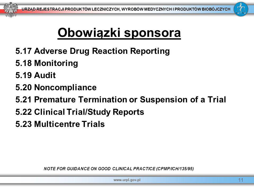 URZĄD REJESTRACJI PRODUKTÓW LECZNICZYCH, WYROBÓW MEDYCZNYCH I PRODUKTÓW BIOBÓJCZYCH www.urpl.gov.pl 11 5.17 Adverse Drug Reaction Reporting 5.18 Monit