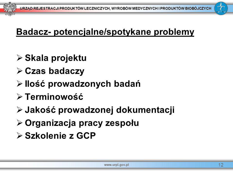 URZĄD REJESTRACJI PRODUKTÓW LECZNICZYCH, WYROBÓW MEDYCZNYCH I PRODUKTÓW BIOBÓJCZYCH www.urpl.gov.pl 12 Badacz- potencjalne/spotykane problemy   Skal