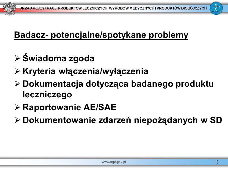 URZĄD REJESTRACJI PRODUKTÓW LECZNICZYCH, WYROBÓW MEDYCZNYCH I PRODUKTÓW BIOBÓJCZYCH www.urpl.gov.pl 13 Badacz- potencjalne/spotykane problemy   Świa