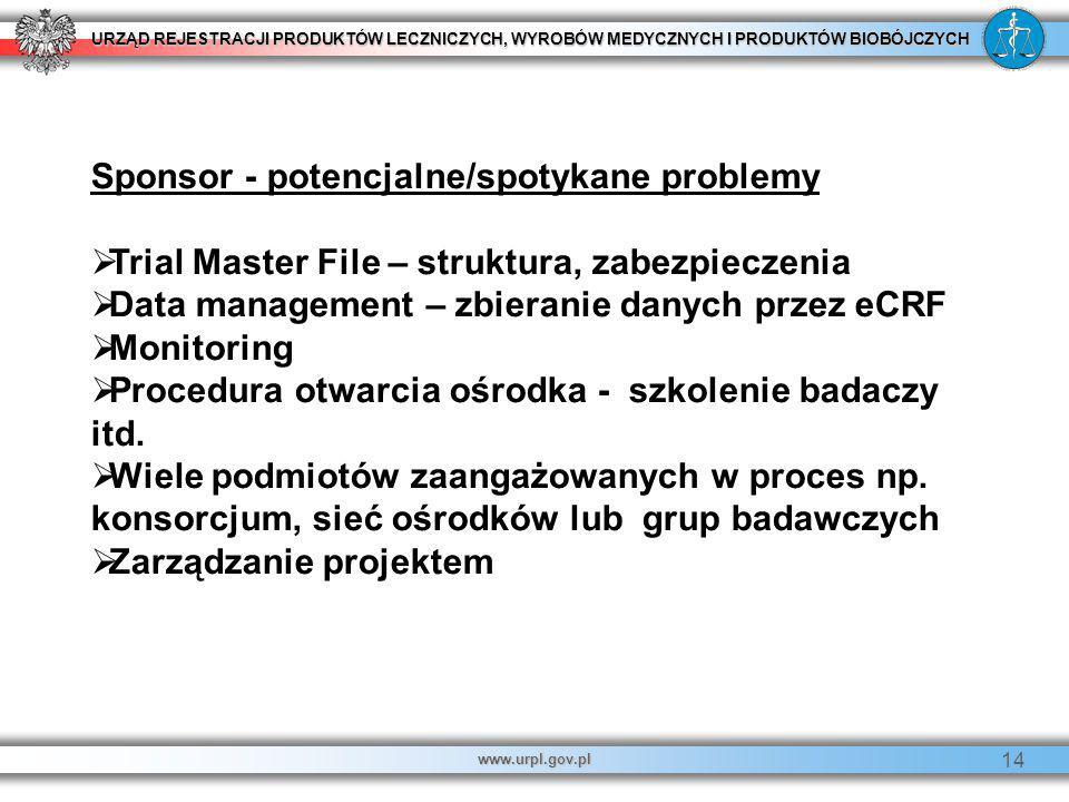 URZĄD REJESTRACJI PRODUKTÓW LECZNICZYCH, WYROBÓW MEDYCZNYCH I PRODUKTÓW BIOBÓJCZYCH www.urpl.gov.pl 14 Sponsor - potencjalne/spotykane problemy  Tria