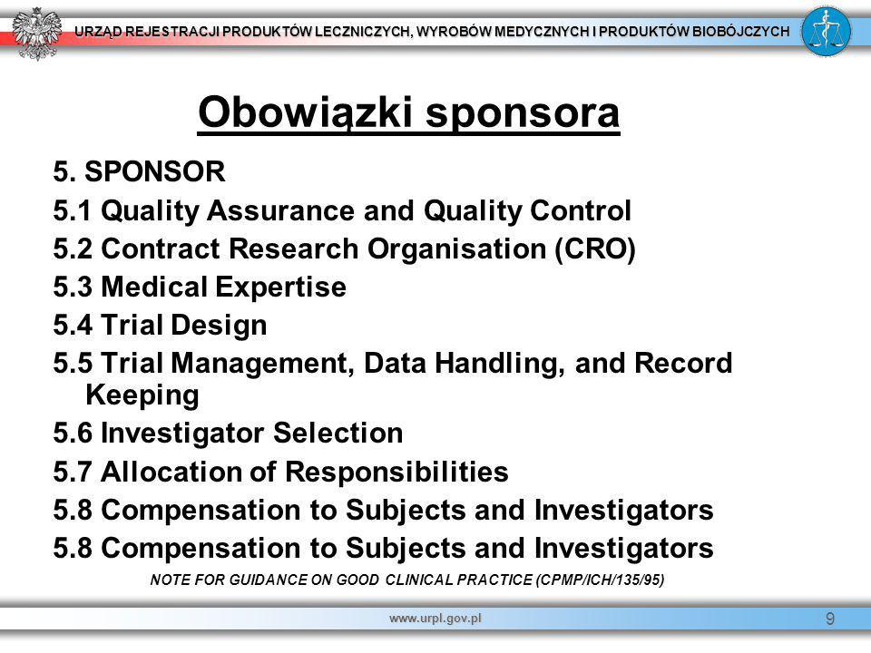 URZĄD REJESTRACJI PRODUKTÓW LECZNICZYCH, WYROBÓW MEDYCZNYCH I PRODUKTÓW BIOBÓJCZYCH www.urpl.gov.pl 9 5. SPONSOR 5.1 Quality Assurance and Quality Con